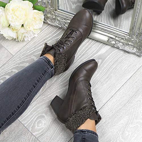 Size Pixie Womens Ladies Brown Matte up mid Vintage Fur Fur Heel Boots Ankle Ajvani Cuff Lace Winter UvCfqxOOw