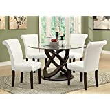 Monarch Specialties Tempered Glass Dining Table, 48-Inch Diameter, Dark Espresso