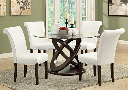 Monarch Tempered Glass Dining Table, 48-Inch Diameter, Dark Espresso (Round Glass Dining Table Wood Base)