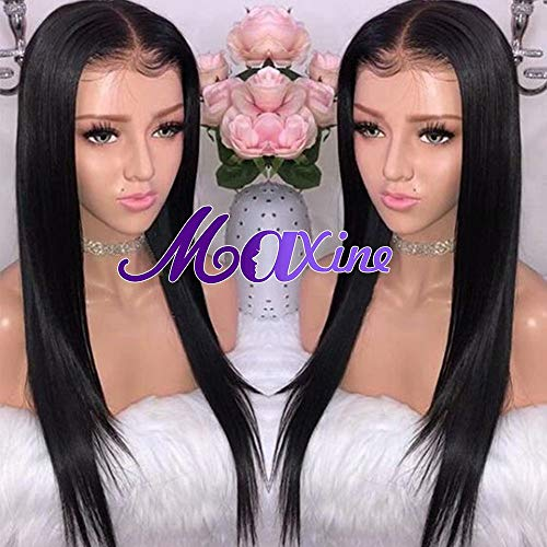 Maxine Brazilian Straight Lace Front Wigs Human Hair with Baby Hair Glueless Lace Front Human Hair Wigs Pre Plucked 130% Density Natural Black for black women(10inch) ()