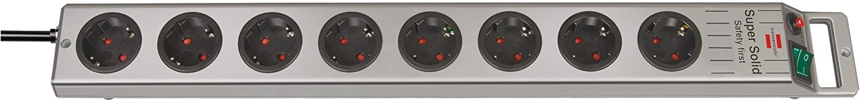 Brennenstuhl Super-Solid, Steckdosenleiste 8-fach (2,5m Kabel und Schalter - aus bruchfestem Polycarbonat) Farbe: schwarz / silber 1153340118