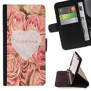 - love awesome heart roses pink spring - - Prima caja de la PU billetera de cuero con ranuras para tarjetas, efectivo desmontable correa para l Funny HouseFOR HTC DESIRE 816