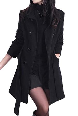6973a4aa452 KLJR Women Winter Double Breasted Wool Blend Long Pea Coat with Hood Black  US XS