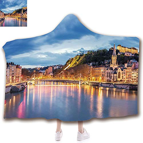 Fashion Blanket Ancient China Decorations Blanket Wearable Hooded Blanket,Unisex Swaddle Blankets for Babies Newborn by,Lyon City at Evening France Blue Hour Historic ,Adult Style Children Style -
