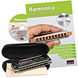 CASCHA Harmonica Learning Set Including Harmonica in C Major, Diatonic English Beginners School, Case and Cleaning Cloth, Ideal for Beginners and Adults