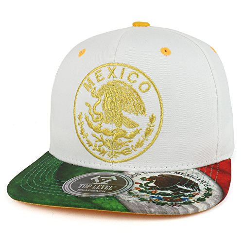 (Trendy Apparel Shop Mexico Coat of Arms Golden Eagle Emblem Embroidered Snapback Cap -)