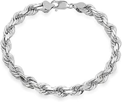 Sterling Silver Mens Diamond-Cut Rope Chain 3mm 3.3mm 3.7mm 4.7mm 5.4mm 6mm 7mm 8mm Solid 925 Italy Heavy Necklace