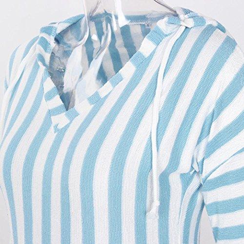 Stripe Dames MORCHAN Pull Womens Longues Occasionnels Bleu Ciel Manches Tops lache Pull Tricots r0qa5fwqx