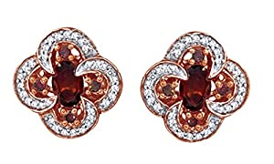 Oval Shape Red Garnet & White Natural Diamond Stud Earrings In 14K Rose Gold Over Sterling Silver (0.33 Cttw)