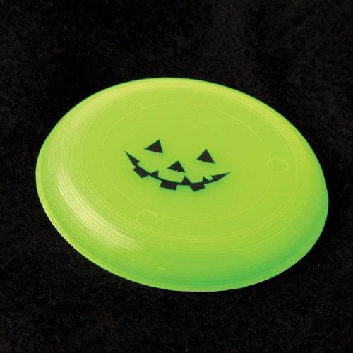 Dozen Glow In The Dark Halloween Pumpkin Jack O Lantern Mini Flying Disc Saucers - 3.75