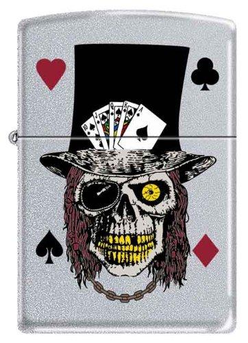 Flush Royal Zippo - Zippo Custom Ligher - Royal Flush Poker Skull with Top Hat Spade Ace Cards, Satin Chrome, New for 2011 Logo