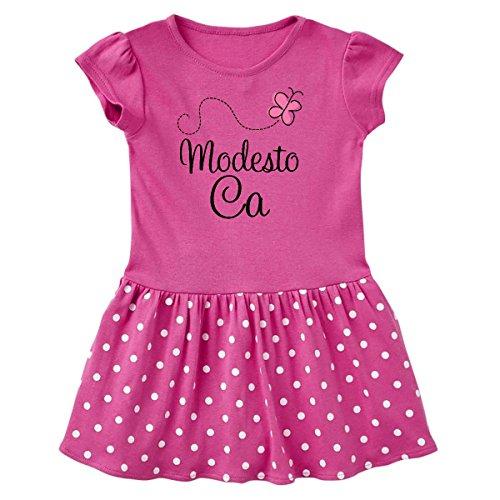 inktastic Modesto California Toddler Dress 2T Raspberry With Polka Dots - Modesto Women