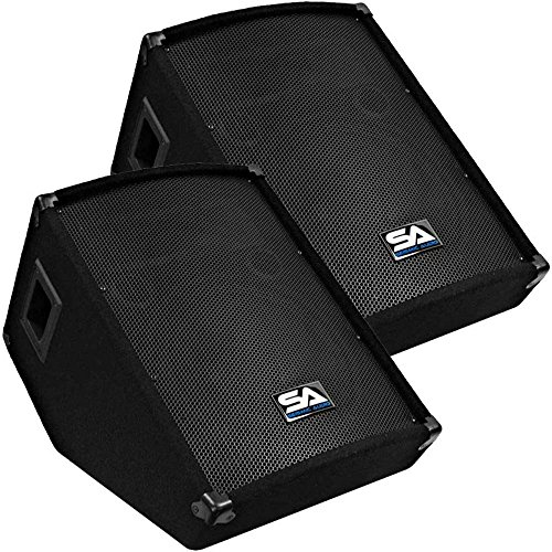 Seismic Audio - Pair of 12'' Floor Wedge Style Monitors - Studio, Stage, or Floor use - PA/DJ Speakers by Seismic Audio