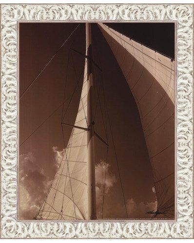 Windward White Acrylic (Framed Windward Sail IV- 11x14 Inches - Art Print (White Wash Frame))