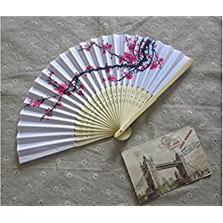 Delicate cherry blossom design silk folding fan favors [SET OF 12]