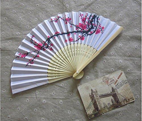 - Delicate cherry blossom design silk folding fan favors [SET OF 12]