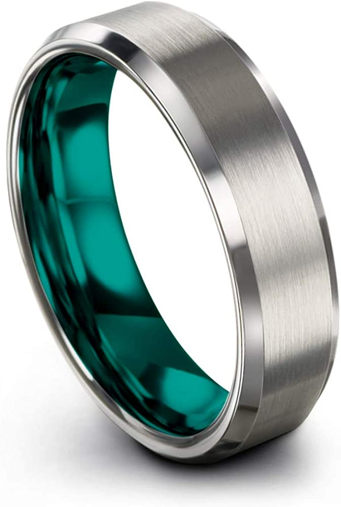 Chroma Color Collection Tungsten Carbide Wedding Band Ring 6mm for Men Women Green Red Blue Purple Grey Copper Fuchsia Teal Bevel Edge Brushed Polished