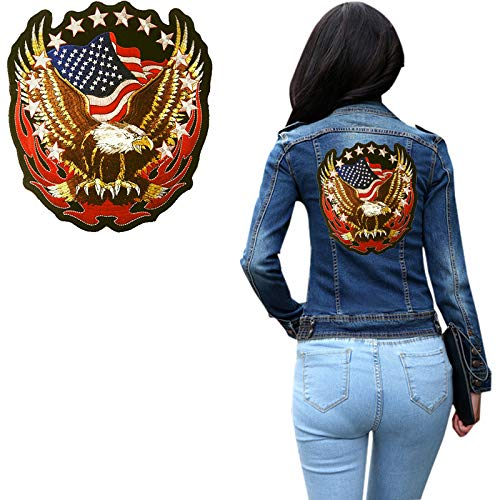 Clothing Iron on Patches-Large Patriotic Eagle American Flags Patch Embroidered Iron on Sew on Embroidery Patch Applique Warriors Badge Holder Eagle Jeans, Jackets, Clothing,Bags(7