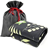 "Forestfish Fleece Throw Blanket Cozy Soft Portable Travel Blanket Compact for Long Car Airplane Train Rides60"" x 40"", Flower"