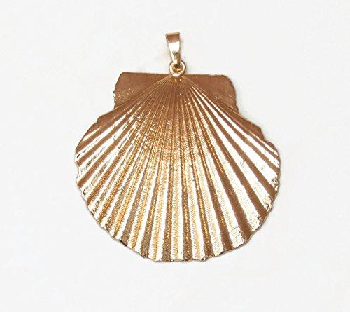 Large Seashell - Gold Plated - Natural Sea Shell Pendants - Scallop Shell Pendant - Gold Plated - 45mm - ()