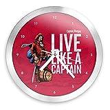 Trademark Gameroom Captain Morgan 12 Inch Brushed Aluminum Wall Clock