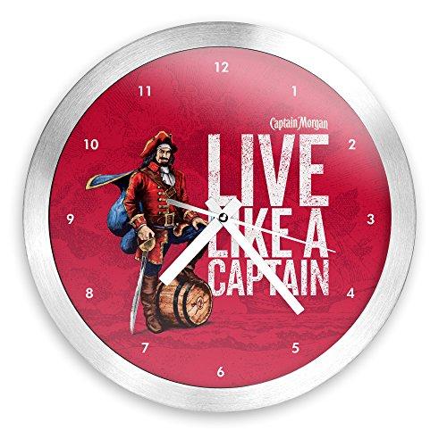 Captain Morgan 12 Inch Brushed Aluminum Wall Clock (Morgan Glass Clock)