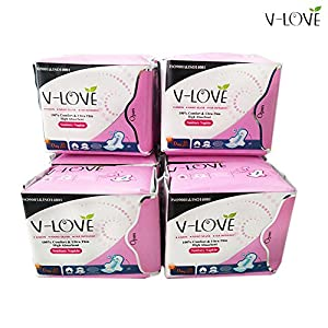 V-LOVE Anion Ultra Thin Sanitary Pads,Regular with Green Anion Strip, Unscented 4Packs/Set