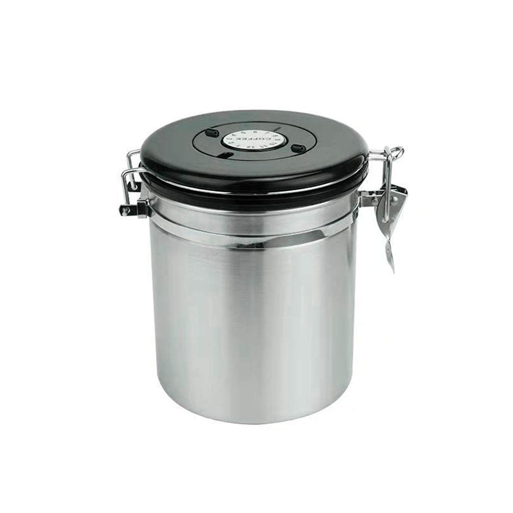 Coffee Bean Sealed Can with Exhaust Valve Buckle Storage Tea Stainless Steel Quality of Preservation Thickened Anti-Fall -Silver High Capacity