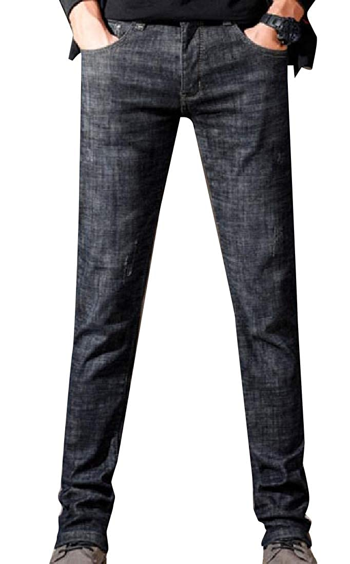 XiaoShop Men Fall Winter Warm Velvet Slim-Tapered Brushed Jean Pants