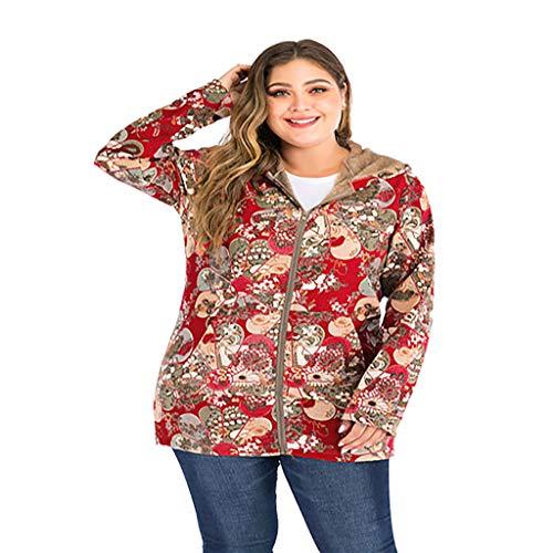 Yoyorule Tops Women Winter Warm Vintage Warm Cotton Linen Printed Pockets Thicker Zipper Hooded Coat Outwear