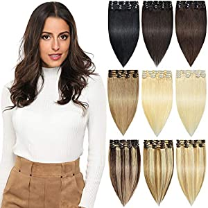 ROSEBUD Clip in Hair Extensions REMY Human Hair 8Pcs 18 Clips 65g/Set 14 Inch