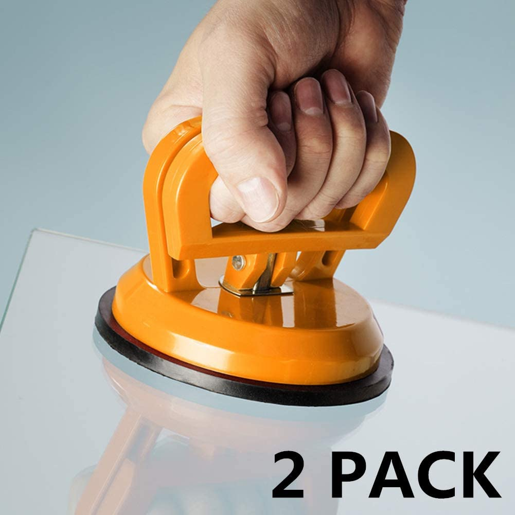 2 Pack Glass Suction Cup,Aluminium Heavy Duty Vacuum Lifter for Moving Glass//Window//Tiles//Mirror//Granite,Double Gripper Sucker Plate