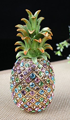 znewlook Big Pineapple Shaped Jewelry Box Cyrstal Pineapple Crystals Gift Trinket (Multicolor)