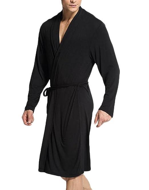 Pijama de seda para hombre Manga larga Abierto antes que el cofre Camisón Sección delgada Cómodas