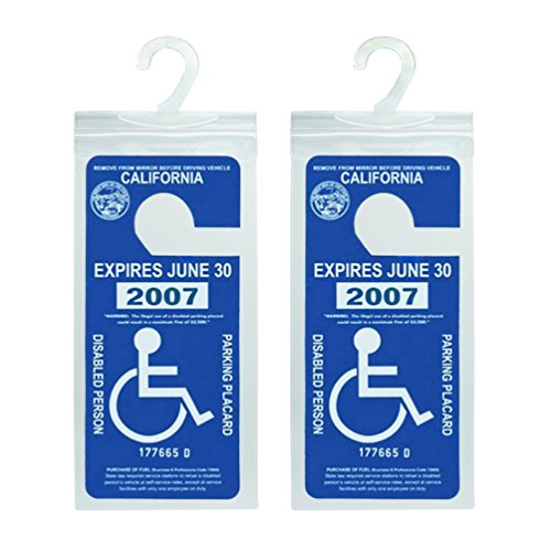 Handicap Parking Placard Holder, Ultra Transparent Disabled Parking Permit Placard Protective Holder Cover with Large Hanger by Tbuymax (Set of 2) (Placard Set)