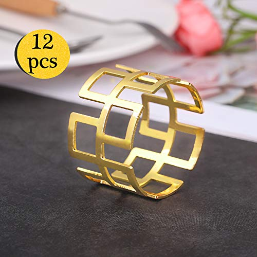 (LogHog Napkin Rings Set of 12 -Golden Napkins Holder Rings,Ideal Table Decoration fo Wedding Banquet Daily Dinner Party Decor Favor(Hollow-Out Style 2))