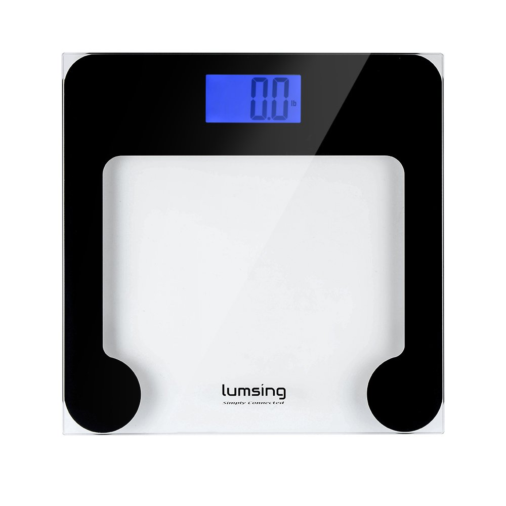 Lumsing Electronic Body Fat Scales, Smart Body Weight Scales, Digital Bathroom Scales, Weighing Scales, High Precision with 180kg / 400lb Capcity, Tempered Glass, Large LCD Display, Measures Weight, Body Fat, BMI, Water, Muscle, Bone, Calorie, Black (Batt