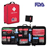 First Aid Kit Labeled First Aid Essentials Kits 96 Pieces Waterproof Molle First Aid Bag Reflective Strip for Emergency at Home, Cars, Survival, Hiking, Travel, Red