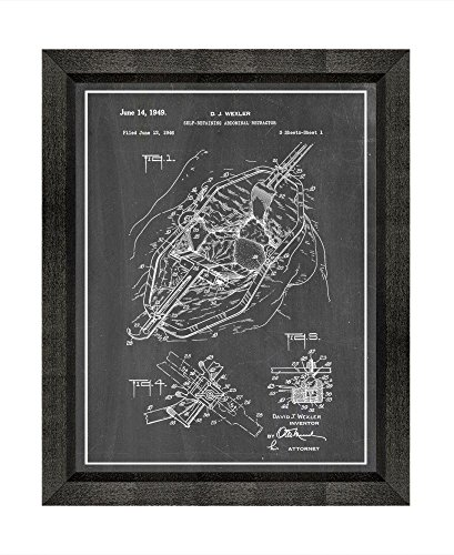 Self Retractors Retaining (Self-retaining Abdominal Retractor Patent Art Chalkboard Print with a Border in a Beveled Black Wood Frame (13