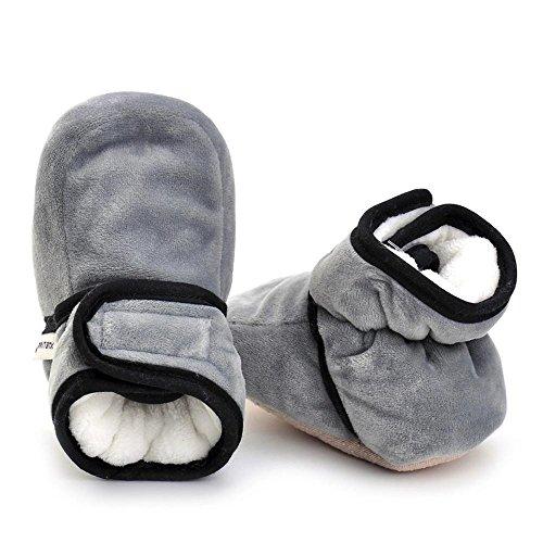 Hunpta Neugeborenes Säuglingsbaby Mädchen feste Krippe schuhe Weiche alleinige rutschfeste Aufladung Grau