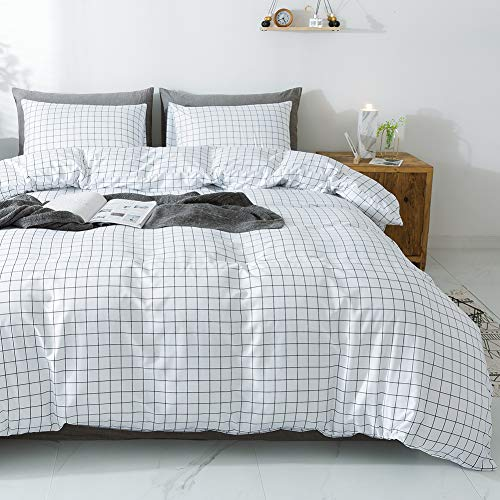 Miffrovn White Mini Plaid Duvet Cover Set, 3 Pieces (2 Pillowcases, 1 Duvet Cover) King(104