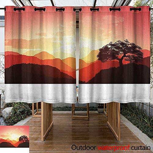 Outdoor Blackout Curtain Mystic Magical Oriental Sunset View with Tree and Mountains Mystique Hills Room Darkening Thermal 84