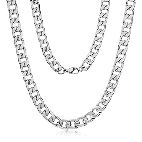 8.6mm Durable Stainless Steel Cuban Curb Link Chain Necklace, 30