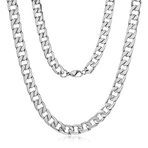 8.6mm Durable Stainless Steel Cuban Curb Link Chain Necklace, 20' + Microfiber Jewelry Polishing Cloth