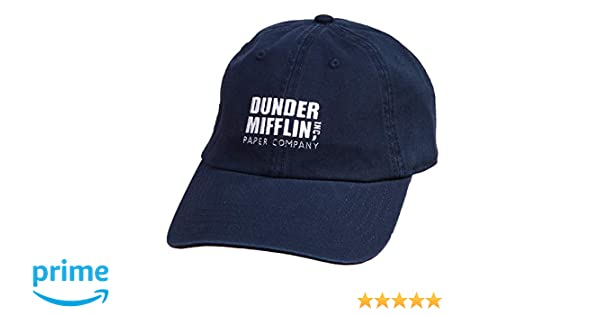 7310d9fc98219 Amazon.com  Ripple Junction The Office Dunder Mifflin Logo Dad Hat (Navy)   Clothing