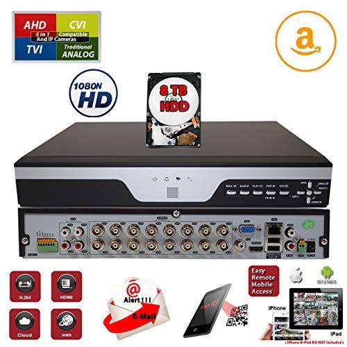 Hybrid H.264 - Evertech 16 Channel Digital Video Recorder H.264 Hybrid 4in1 AHD TVI CVI Analog CCTV Security Camera DVR w/8TB HDD