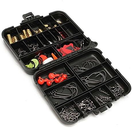 128pcs Fishing Lures Hooks Baits Black Tackle Box Full Storage Case Tool Kit Set