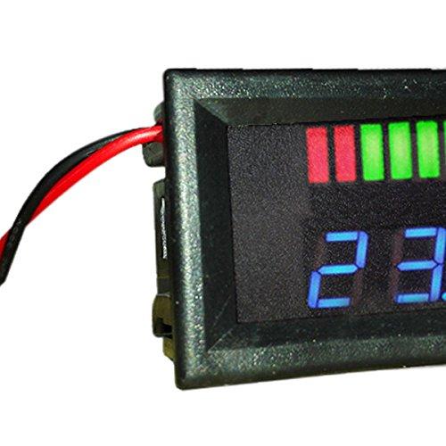 SODIAL 12V Indicateur De Capacit/é De La Batterie Au Plomb ACID Niveau De Charge Testeur DEL Voltm/èTre Bleu