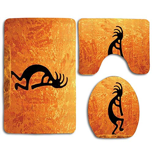 Kokopelli Southwestern Style Native American Indian Ancient Belief Picture Art Bathroom Rugs Sets 3 Piece,Soft Non-Slip Bath Mat U-Shaped & Round Toilet Floor Rug Mats for Tub Shower Rugs ()