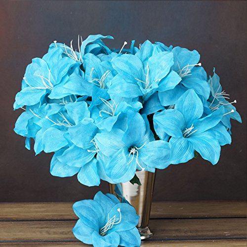 BalsaCircle 60 Turquoise Silk Easter Lilies - 10 bushes - Ar